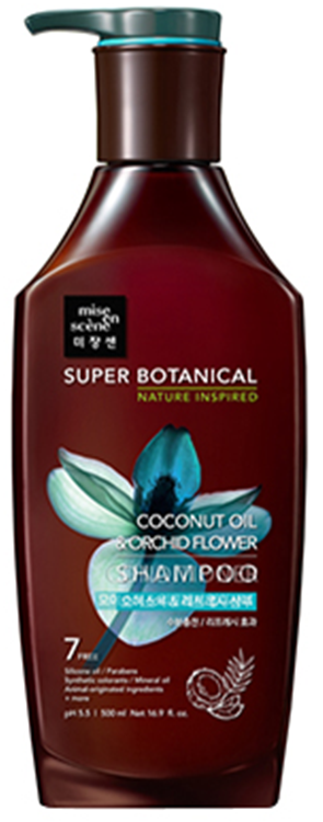 Фото  MISE EN SCENE Увлажняющий освежающий шампунь Super Botanical Moisture & Refresh Shampoo Coconut Oil & Orchid Flower