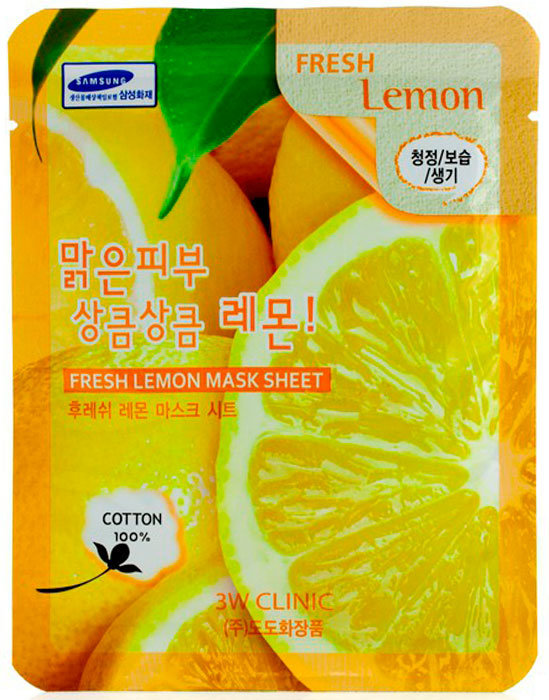 Фото  3W CLINIC Тканевая маска для лица с экстрактом лимона Fresh Lemon Mask Sheet